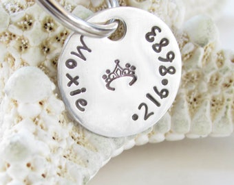 Pet Tag Custom - Hand Stamped - Petite Sterling Silver -- Handmade - Tag for Smaller Cats, Dogs, Kittens and Puppies