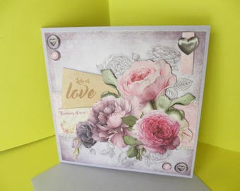 Vintage pink and purple flowers 3D card
