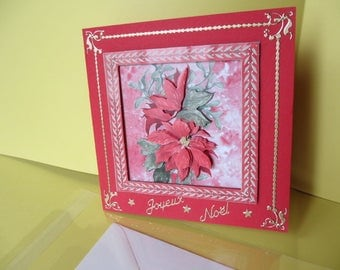 Card (embossed) 3D poinsettia stickers gold Merry Christmas