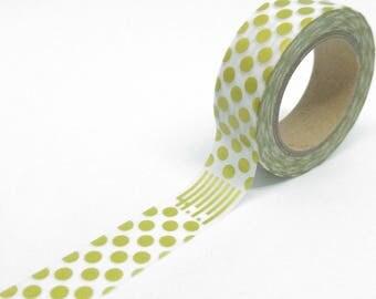 Washi Tape metallic polka dot and stripes gold 10Mx15mm Matt and white