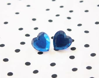 Blue Heart Rhinestone Post Earrings