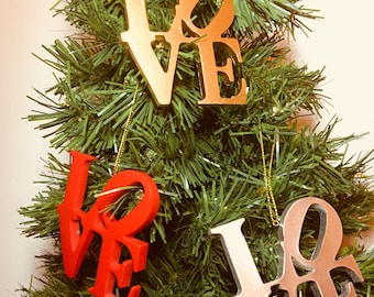 LOVE Christmas Tree Holiday Ornaments HANDMADE in Any Color
