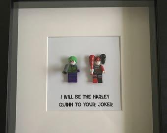 Harley Quinn and Joker Minifigure Shadowbox