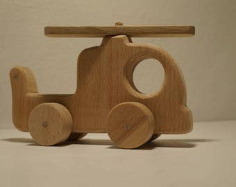 Wooden Toy Helicopter -  Handmade Natural Wood