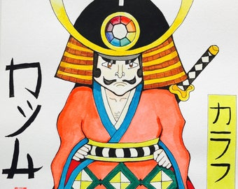 Original A3 Size Painting on Watercolour Paper. Modern samurai - in the style of Japanese manga/ anime.
