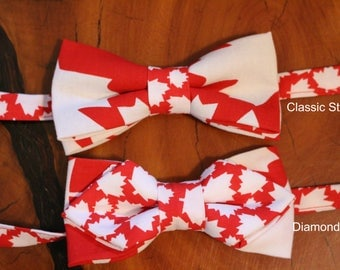 Adult Adjustable Pre-Tied Canadian/Maple Leaf Bow Tie