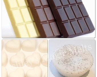 chocolate soy wax melts, sweet melts, bakery wax melts, cheap melts, highly scented melts, wax melt tarts, best wax melts, wholesale wax