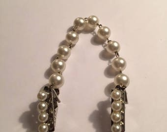 Vintage Faux Pearl and Silver Sweater Clip 1950s