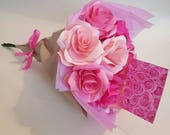 Image of Pink roses, Paper flower bouquet, Special occasion flowers, Mothers Day bouquet, Paper roses, Flowers for someone special