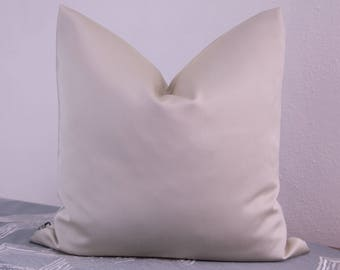 Satin pillow cover in cream, 40 x 40 cm