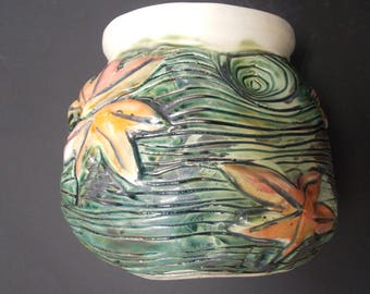 Koi Pond Vase with Japanese Maple Leaves (No Fish)