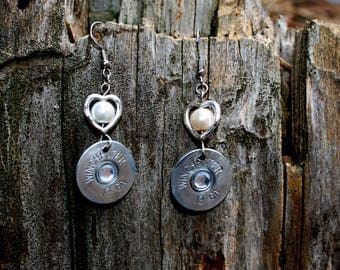 12 Gauge Shotgun Shells with  Heart and pearl Earrings - Bullet Jewelry- Gifts for Her - Valentine's Day