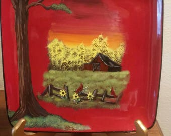 Hand painted plate old red barn and sunflowers. Red barn and sunflowers. Sunflowers and cardinals