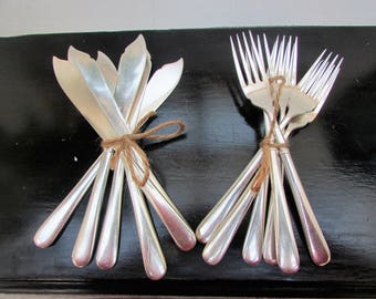 Six Silver Plated Fish Knives and Forks by Osler