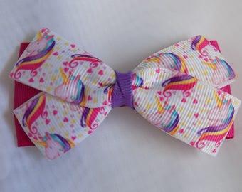 Unicorn Hair Bow - Girl's hair bow, Hair bow for girl, Hair accessory, Barrettes and clips, Toddler hair bow, Hair clip for girl, Hairbow