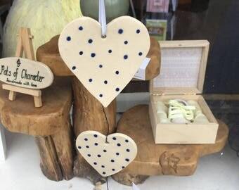 set of three hanging hearts