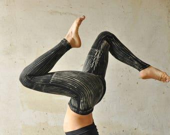 Leggings *CIRCUS*, Striped ~ Viscose ~  Acrobatics, Yoga, Acroyoga ~ black-beige-gray