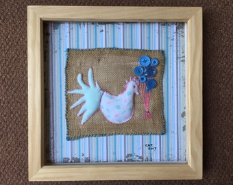 Upcycled textile hand stitched chicken and button art - framed