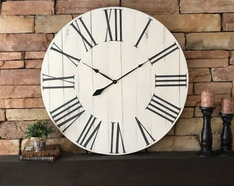 "36"" Antique White Farmhouse Clock, Oversized Clock, Farmhouse Wall Clock, Farmhouse Decor, Rustic Decor, Antique White Decor"