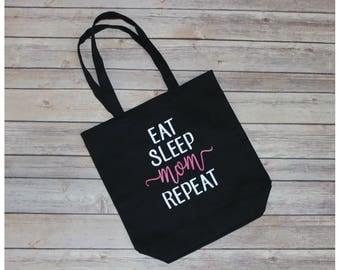 Eat Sleep Mom Repeat Reusable Canvas Tote Bag