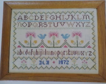 Sampler= vintage (1972) handmade cross-stitch