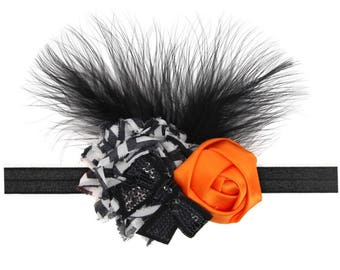 Halloween headband, baby headband, baby halloween bow, baby halloween, baby girl halloween headband, photo prop, orange and black