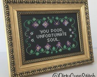 You Poor Unfortunate Soul framed cross stitch
