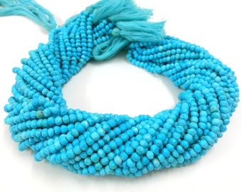 Blue Turquoise Independence Day Bulk Wholesale 5 Strands Turquoise Faceted Rondelles - Turquoise Rondelle Beads 3-4mm 13 Inch Long Strand