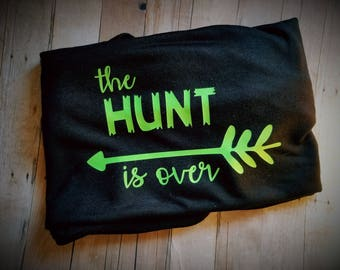 The Hunt Is Over Black TShirt - Hunting Couple Shirt - Arrow Shirt - Engagement Announcement - Fiance Clothing - Engaged Clothing