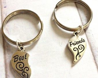 Best friends keyring set, two best friends keyrings, simple silver best friend keyring, stocking filler, girls gift, friends gift,