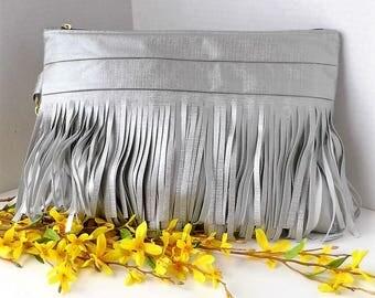 Fringe Oversize Clutch Purse, Zipper Clutch, Silver Clutch Purse, Wristlet Purse, Silver Wallet Clutch, Wristlet Clutch Bag