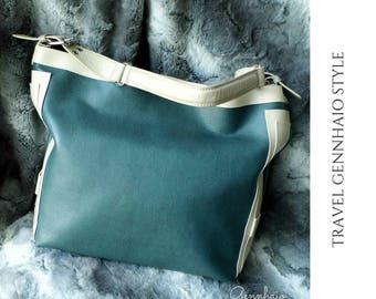 Vegan Leather Tote Bag, Cream Tote Bag, Oversized Bag, Oversize Tote Bag, Tote Bag, Vegan Tote Bag, Vegan Tote, Re purpose, Green handbag