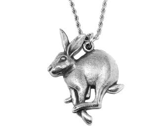 Mad March Hare Pewter Pagan Pendant Necklace with Chain