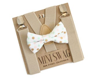 Baby Boy First Birthday Outfit, Cake Smash Outfit, Bowtie Suspenders, Tan Beige Toddler Suspenders, Boys Bow Tie and Suspenders, Boys Gift