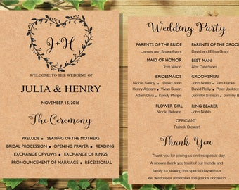 Printable Wedding program template card ,Floral Rustic Heart Wedding Ceremony Editable Text INSTANT DOWNLOAD MS, W3.