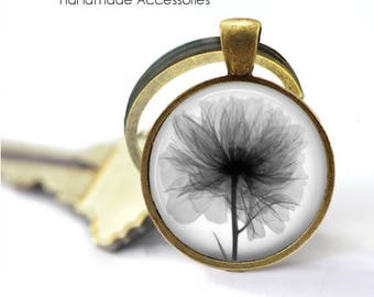 POPPY Key Ring • X-Ray of a Poppy • Poppy X-Ray • Black White Poppy • Remembrance Flower • Gift Under 20 • Made in Australia (K410)