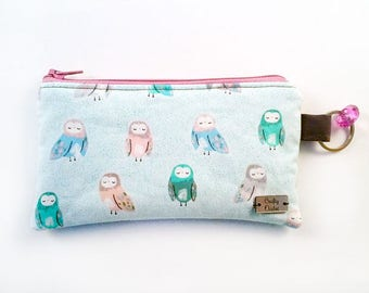 Pastel Owls -Coin Purse - Zipper Coin Pouch - Cute Coin Purse - Change Wallet - Zipper Bag - Card Wallet- Birth control case- Gift Idea-