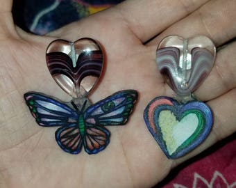 Butterfly and heart earings, shrinky dink earings with heart beads