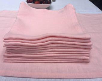 Linen napkins set of 12. Linen dinner napkins in pink. Flax linen napkins. Wedding linen napkins,