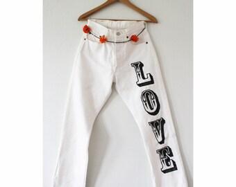 LOVE LEGS embroidered vintage levis denim
