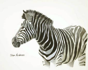 ORIGINAL watercolor painting, 11 x 15 inches, Zebra watercolor, Zebra painting, Animal watercolor, Gift for woman, Nursery room