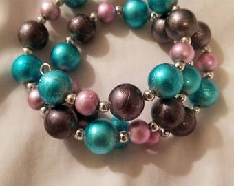 Pink, Teal, & Silver Wrap Bracelet, Glass beads, Nickel-free Memory Wire. BR13
