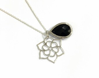 Sterling Silver necklace . Black crystal, gift for her.