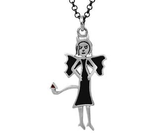 the devil is a woman silver charm necklace, she devil charm, bad girl necklace, black magic woman, evil woman necklace, feminist charm