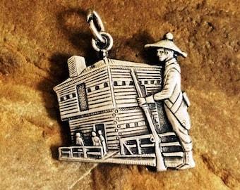 Vintage Fort Mackinac Charm - Sterling Silver