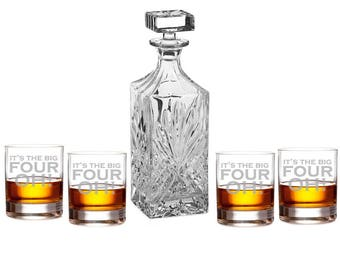 It's the Big 40 OH! with Engraved Rocks Glasses Set - Father's Day Gift (DCRCK10OZ-AMC35K)  Birthday Gift