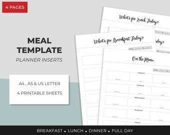 Meal Planner, Planner inserts, Planner Printable, A4, A5, US Letter, Instant Download, Lunch , Dinner, Breakfast,Weekly meal Planner,Filofax