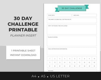 30 Day Challenge, 30 Day Habit Tracker, Blank Challenge, Goal Setting, Daily Affirmation, A4, A5, US Letter, Single Sheet, Planner insert