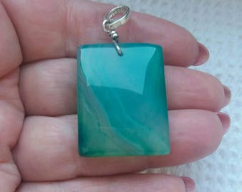 Natural Green onyx pendant on silver 925