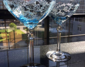 Fostoria Versailles Blue champagne glasses, set of two